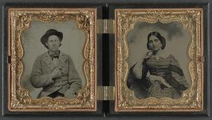Unidentified soldier in Confederate uniform and unidentified woman. From the Library of Congress Liljenquist Family Collection of Civil War Photographs, AMB/TIN no. 2926 [P&P].