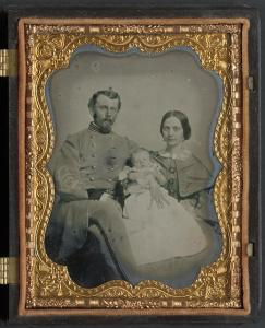 Unidentified officer in Confederate uniform with wife and baby, between 1861 and 1865. From the Library of Congress Liljenquist Family Collection of Civil War Photographs, AMB/TIN no. 2819 [P&P].